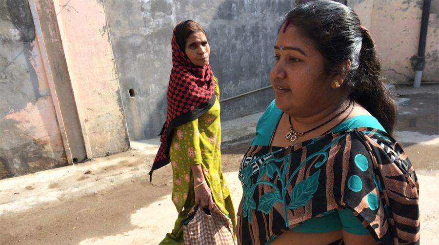 Priya Kumar (right) walks freely in her husband's Haryana town, unlike many local women.