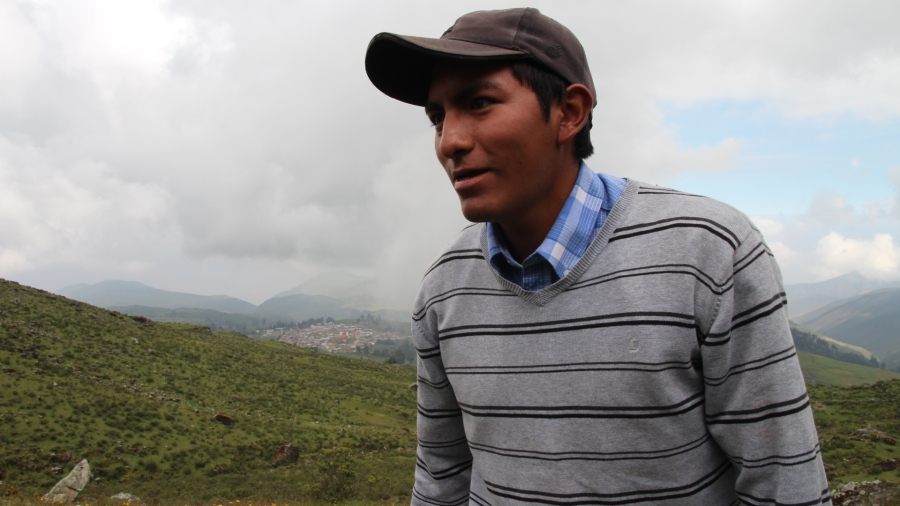 Victor Rosa grew up in Huamantanga, but like many young people, left to seek work in the capital city. He returned recently to help his community rebuild the canals de mamanteo and collect data for Condesan to see how much water from the canals is being t
