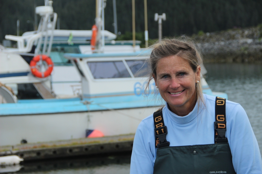 Thea Thomas is one of the pioneers of female Alaskan salmon fishermen. There are about 10-12 women out of roughly 550 permitted fishermen in the area.