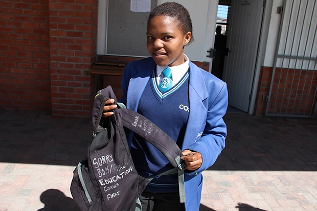 Twelfth-grader Zandile says the message on her bag helps her stay focused on her studies. (Photo: Anders Kelto)