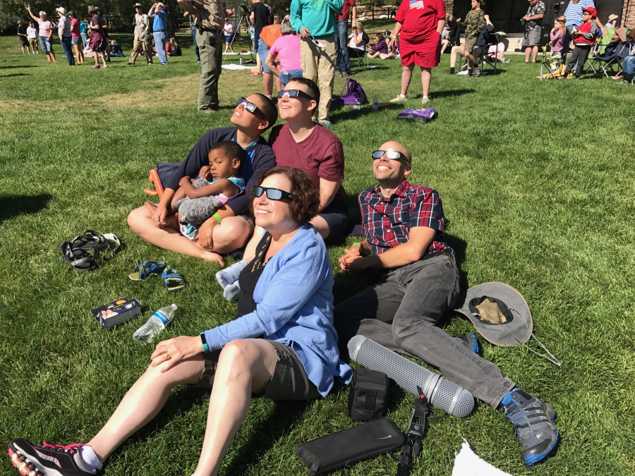 people watching the eclipse