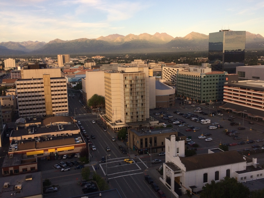 Downtown Anchorage. Alaska's largest city's population is estimated to be close to 300,000.