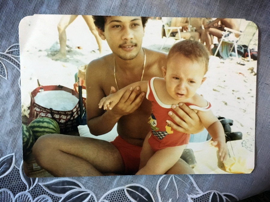 Emad Abdullah at the beach with his nephew just before he disappeared in 1984. His family says they've heard from Lebanese people released from prisons in Syria that they saw Emad there.