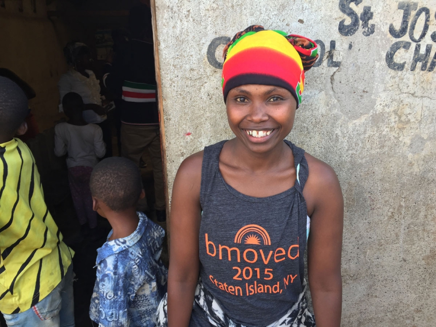 Catherine Njeri in front of the little church in Kariobangi where yoga classes are held.