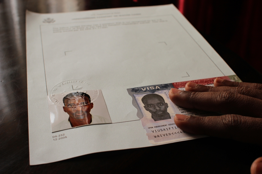 Abdi was issued a visa to enter the United States, but had no Somalian passport to put it in.