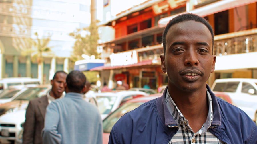 """Abdi is pictured while living in Nairobi's """"Little Mogadishu,"""" a poor area of the Kenyan capital that's home to many Somali refugees."""