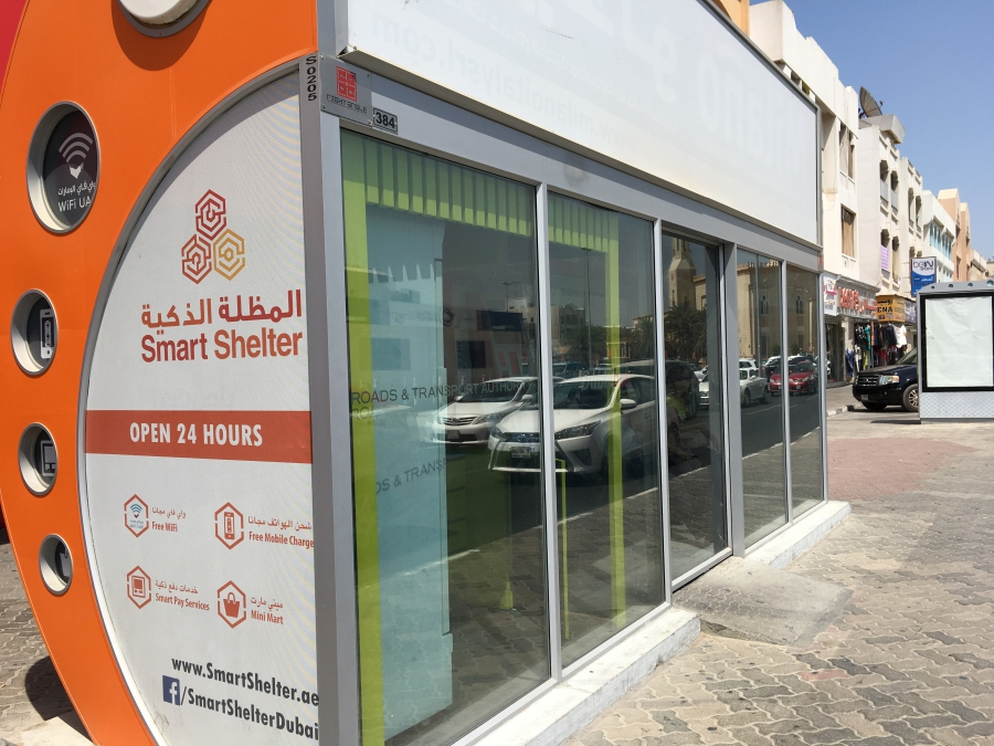 Air-conditioned bus stop in Dubai.