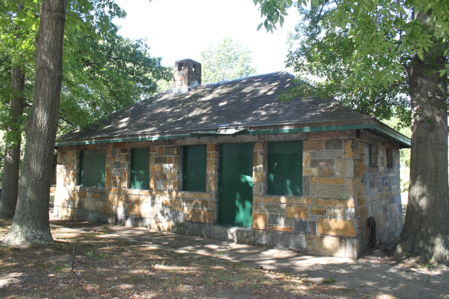 The Duck House, a disused building on the Emerald Necklace