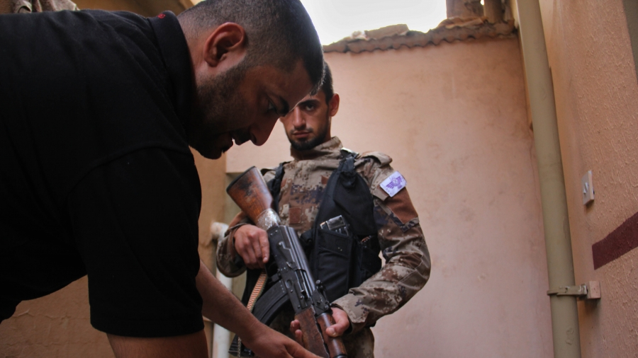 A young Christian man who has signed up to fight against ISIS.