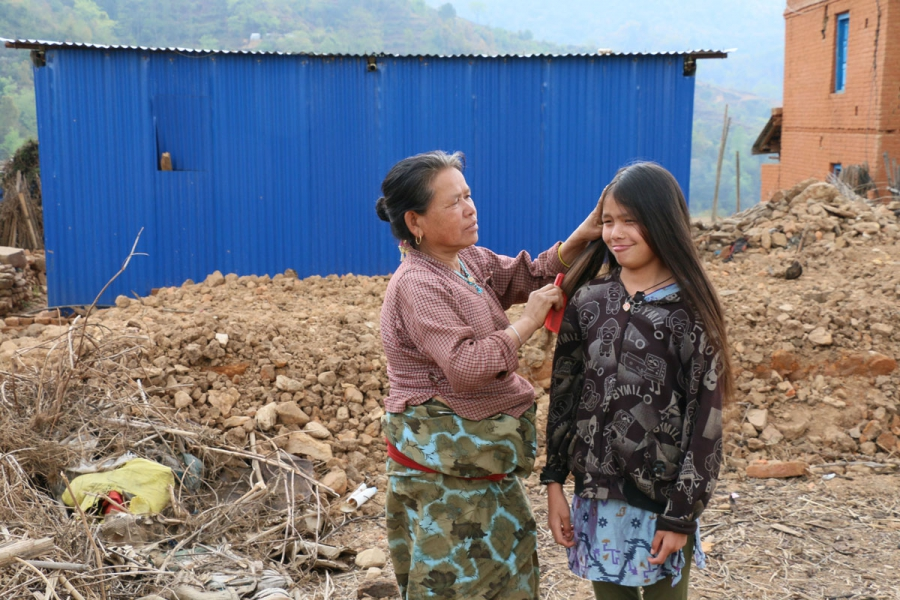 48-year-old Sanukanchi Tamang and her youngest Sanukanchi Tamang, age 48.