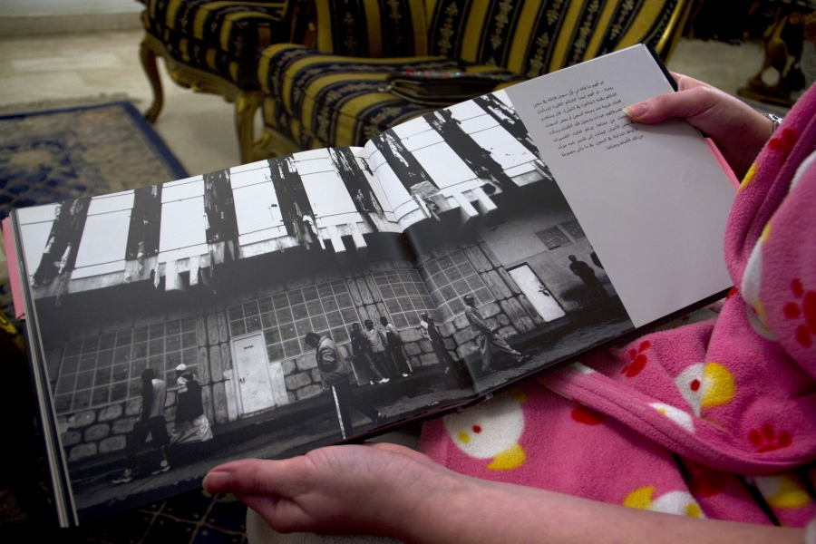 Maya Yamout shows a picture of the outside of Block B of Roumeih.