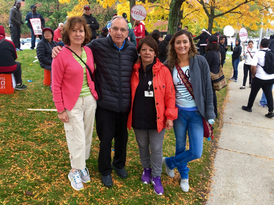 "Dining hall employees on the strike line at the Harvard Business School (from left to right), Gracinda Almeida, ""Gaby"" Bourghol, Gladys Romero and Any Montoya."