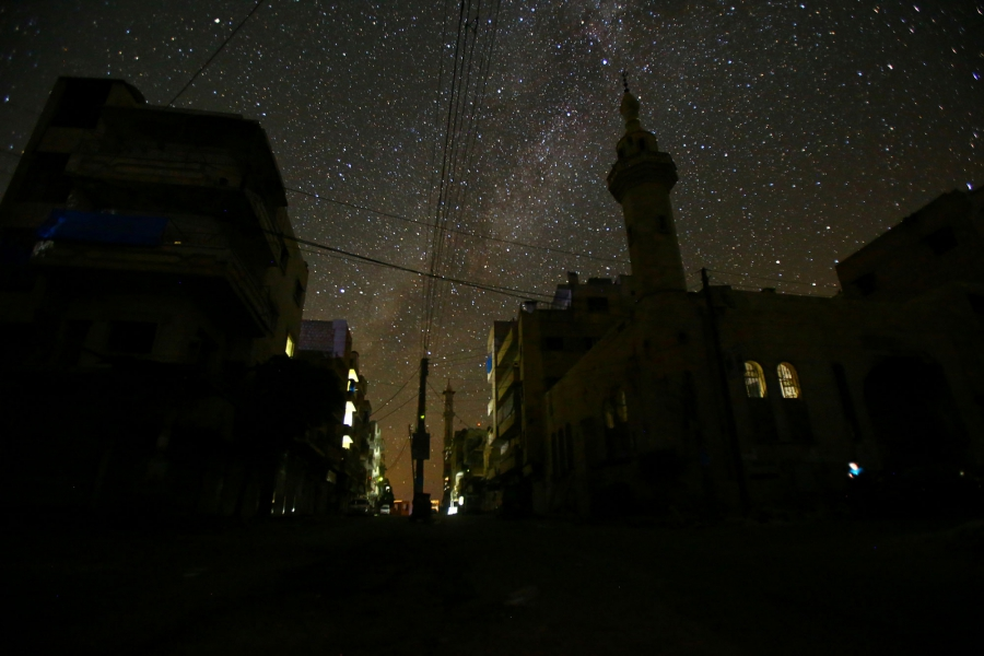 A mosque stands in the rebel-controlled area of Maaret al-Numan town in Idlib province.