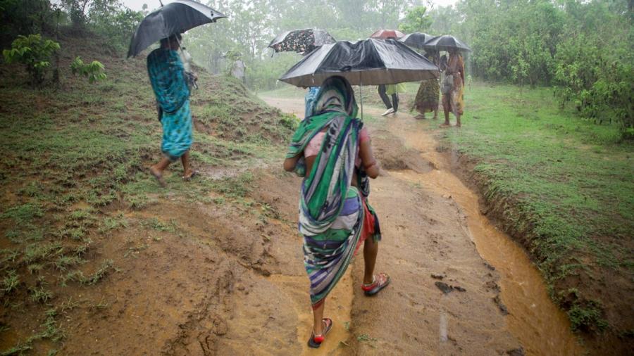 Women patrol in rain