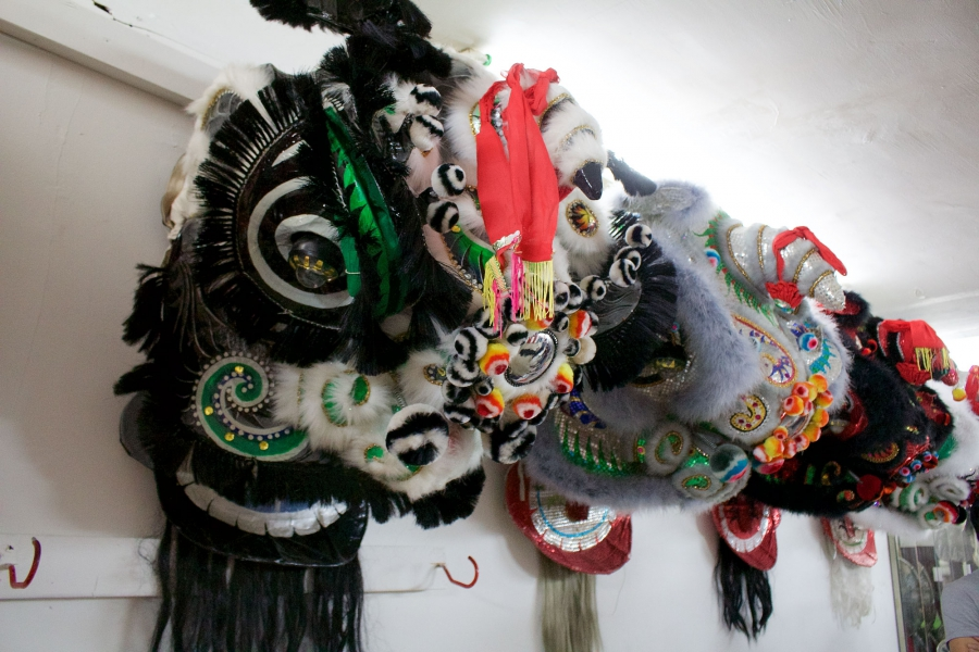 The head used for the Chinese lion, which includes a horn growing out of its forehead, is an imaginative interpretation of an animal not native to ancient China, incorporating elements of the dragon and other mythical beasts.