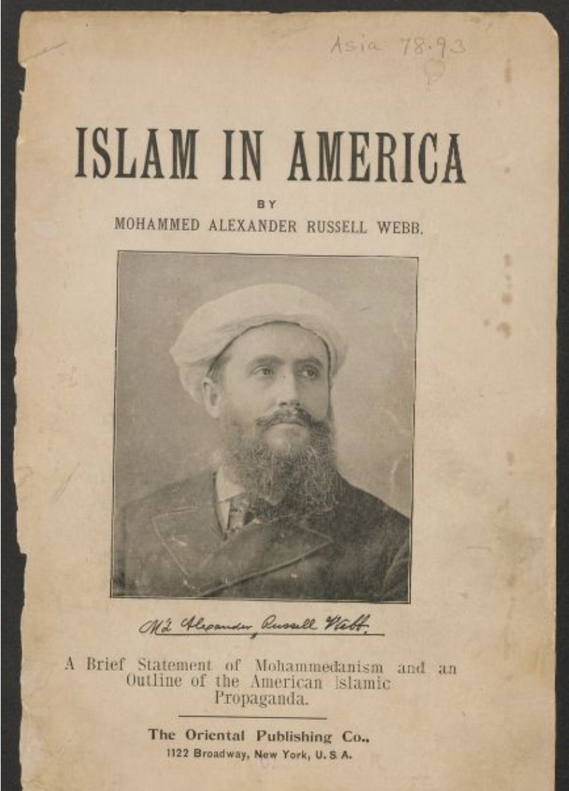 "Cover of ""Islam in America"" showing author in a turban and suit"