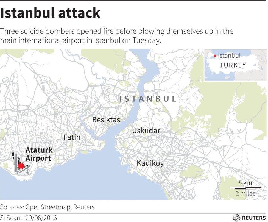 Map locating an attack at Istanbul airport on June 28, 2016.