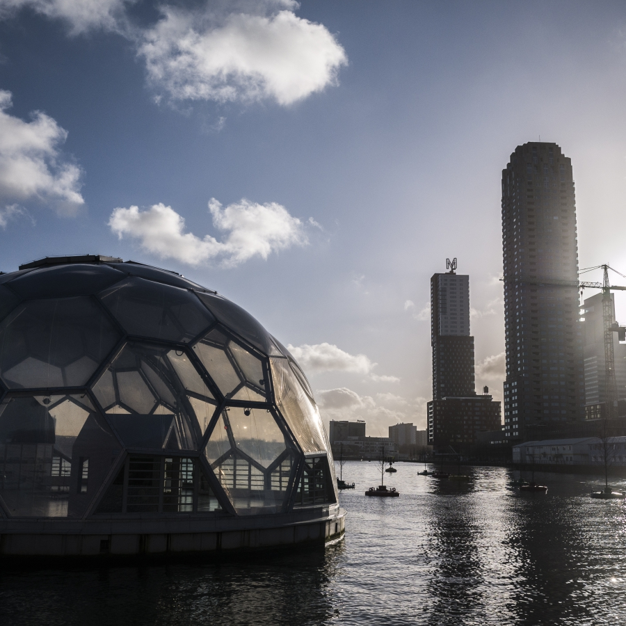"Floating buildings like this pavilion in Rotterdam's old harbor are still a boutique solution even in the Netherlands, but Hans Baggerman says they could become more common as climate change forces developers to get creative. ""A lot of parts of Holland ar"