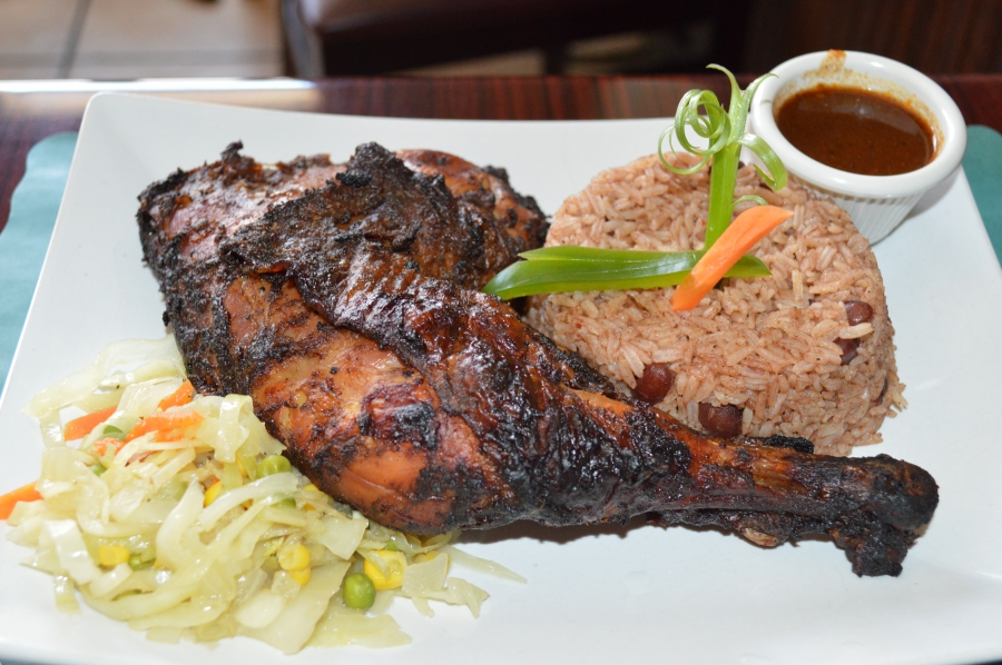 Plate of jerk chicken with rice