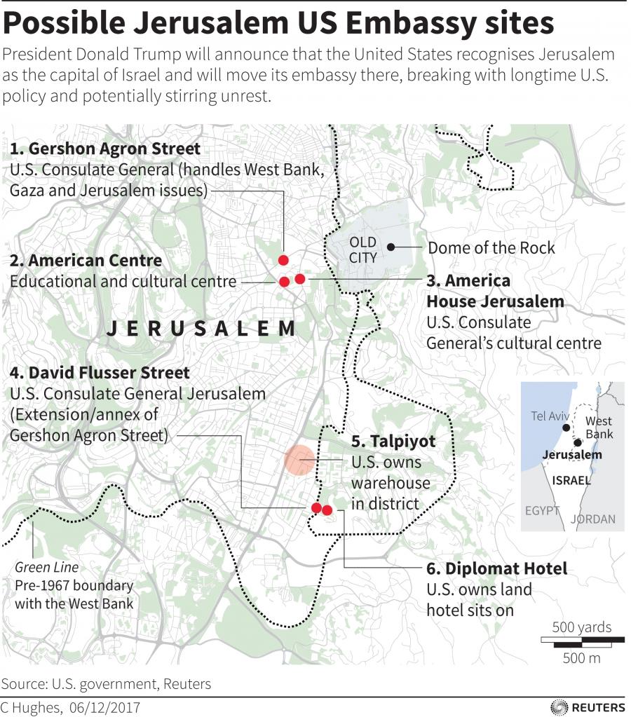 Map locating possible sites for the US embassy if it moves from Tel aviv to Jerusalem.