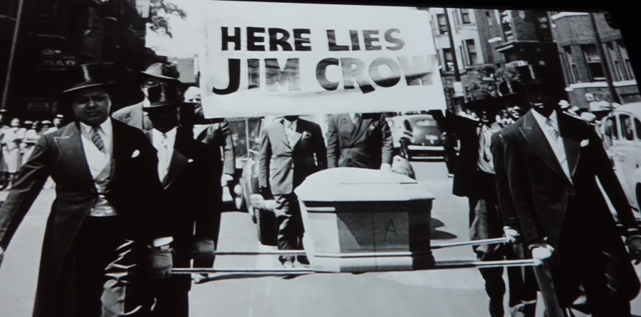 Jim Crow 'funeral' protest, in film shown at Rosie the Riveter Museum, Richmond, CA