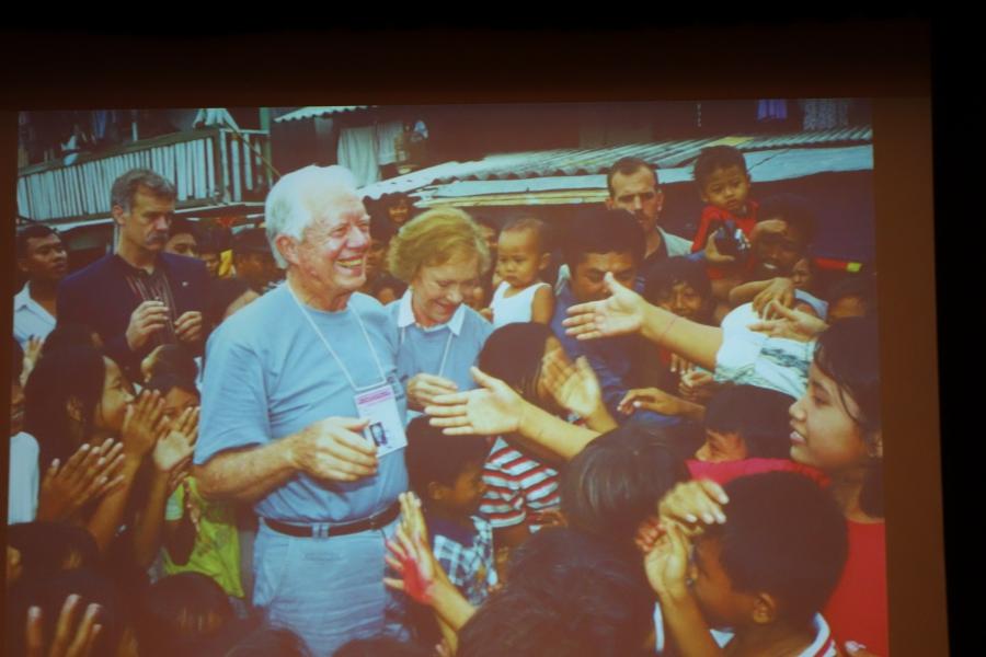 Former US President Jimmy Carter and Rosalynn Carter observing a village election