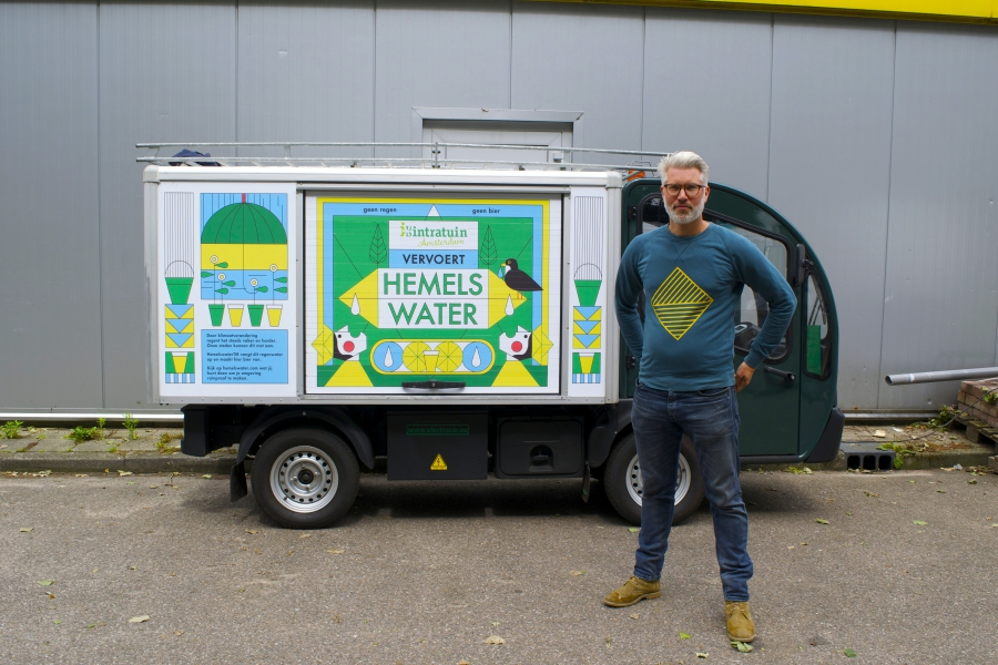 Joris Hoebe with his company's electric van. Hoebe turns 1,000 liters of rain water a week into beer, with big plans to expand.