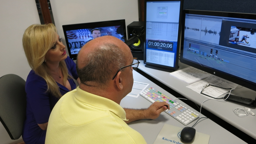 Television anchor Karen Caballero works with an editor at Television Martí.