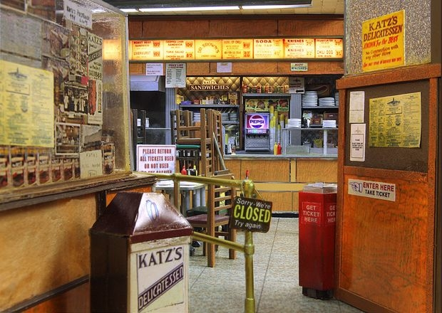 Interior detail of Alan Wolfson's Katz's Deli model.