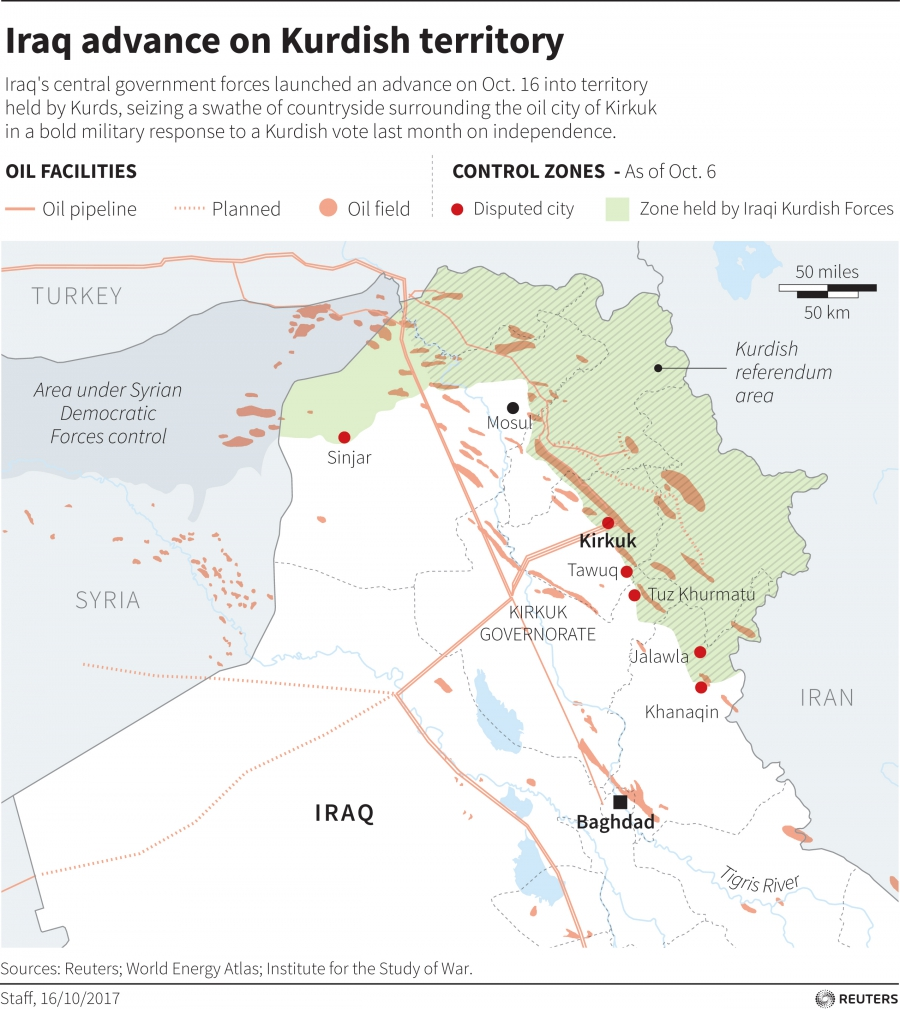 Iraq's central government forces launched an advance on Oct. 16 into territory held by Kurds, seizing a swathe of countryside surrounding the oil city of Kirkuk.