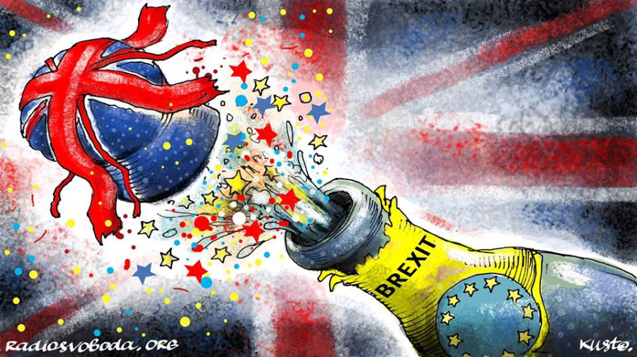 Champagne bottle (the EU) explodes and the cork that flies off is Britain
