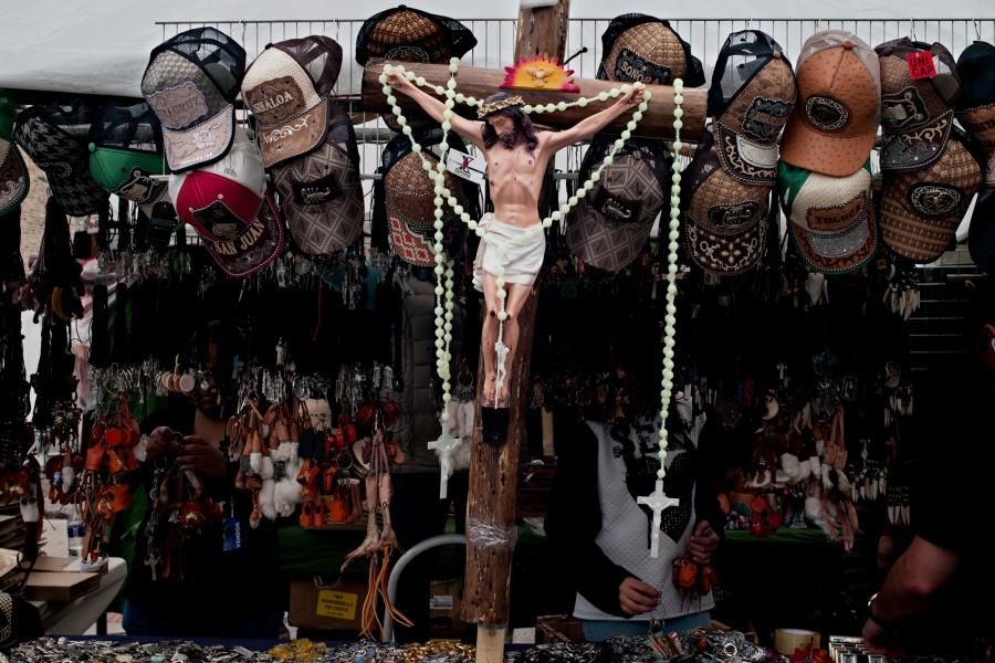 Jesus Christ represented on cross in shrine