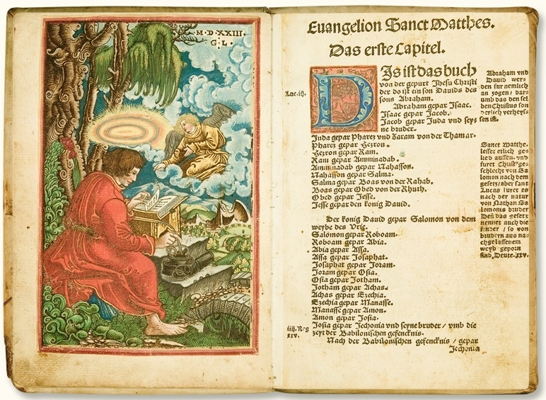 The first page of the Gospel of Matthew in the 1524 edition of the New Testament with a colored woodcut by Georg Lemberger.
