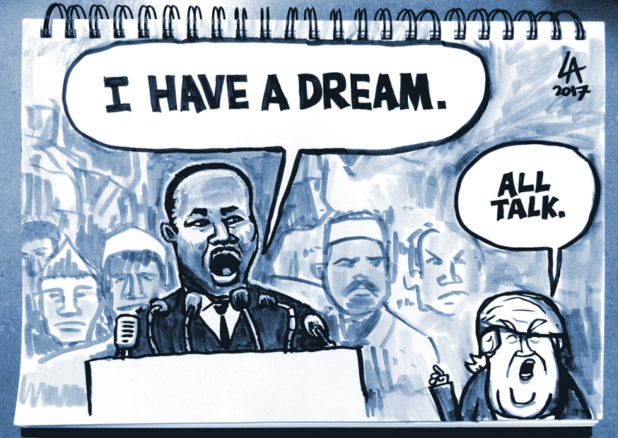 "cartoon showing Martin Luther King saying ""I have a dream"" and Trump saying ""All Talk."""