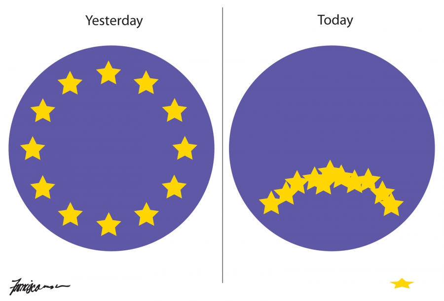 The circle of stars on the European Union's flag turn into a frowny face after Brexit vote