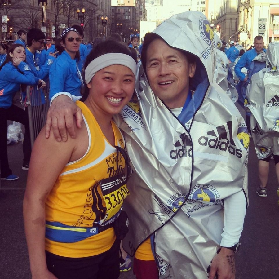 Mackenzie and Steven Loy after completing the Boston Marathon a year after 2013 bombings stopped their race.