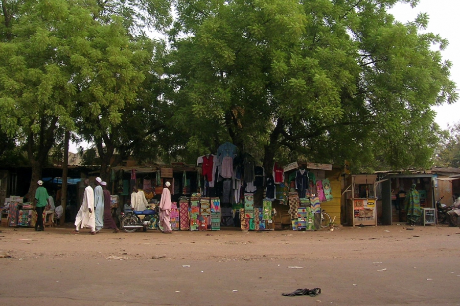 A local street market in Garoua, Nord, Cameroon.