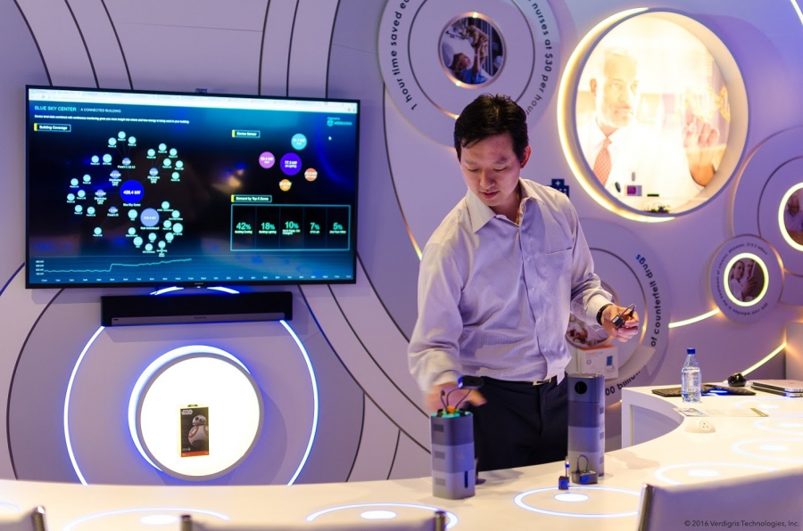 "Verdigris founder and CEO Mark Chung shows off the latest version of his energy-sensing system. It's called ""Einstein."""
