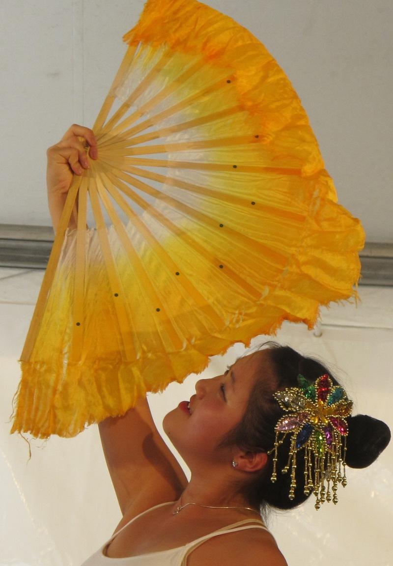 Maya Ludtke practicing Chinese fan dancing
