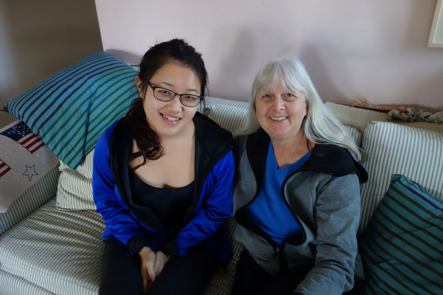 Maya (left) and her adopted mother Melissa Ludtke, in their Cambridge, MA living room.