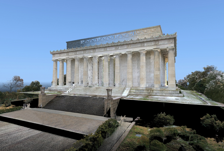 Laser scan data with coloring of the Lincoln Memorial. (Credit: CyArk and DJS)