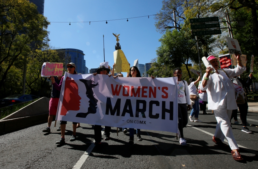 Women in Mexico City join the Women's March in solidarity with the March on Washington, January 21, 2017.