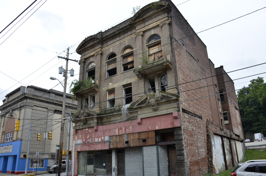 Downtown Monessen, PA. The city has 400 homes and 30 blighted buildings that need to be torn down.