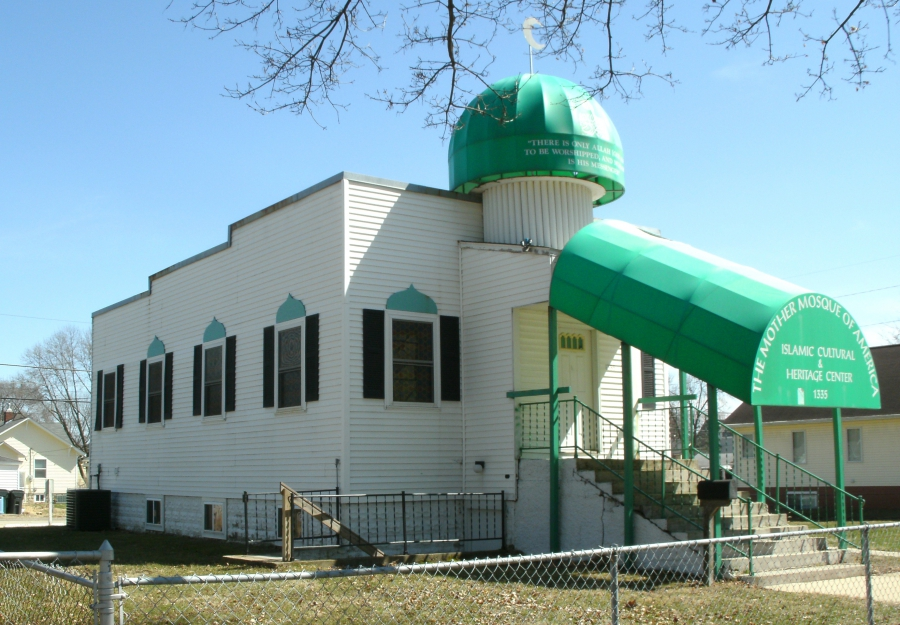 Mother Mosque in Iowa, white building with green roof