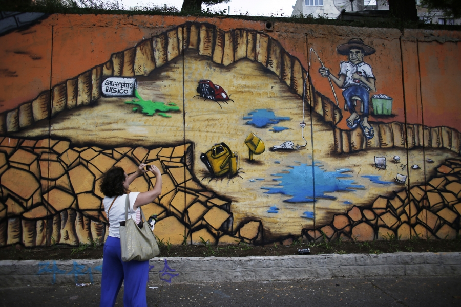A mural by Brazilian artist Subtu highlights the issue of severe water shortages in São Paulo. After bottoming out at below 10%, reservoir levels are still below 20% of capacity heading into the region's dry season.