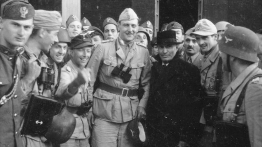 Otto Skorzeny after freeing Mussolini (in black) – 12th September, 1943