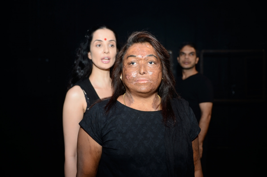 "Sneha Jawale (front, center), Rukusar Kabir (L) and Anjur Vikal in ""Nirbhaya."""