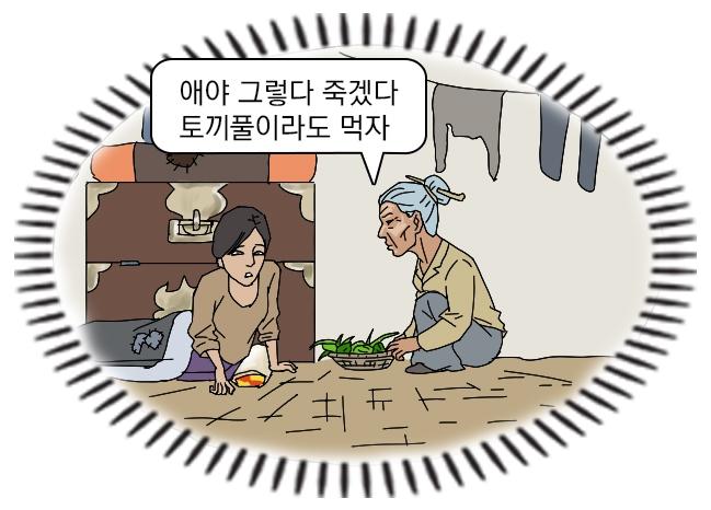 A Choi Seong-gok cartoon recalling hunger in North Korea