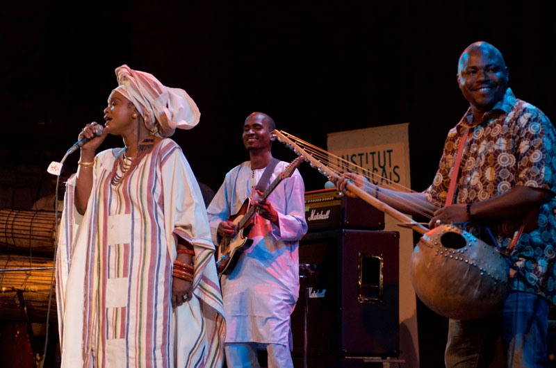 Wassoulou star Nahawa Doumbia was superb, her dry, searing vocal power undiminished as she moved through a trademark set from the Wassoulou region featuring kamele ngoni, funky percussion and ripping electric guitar.