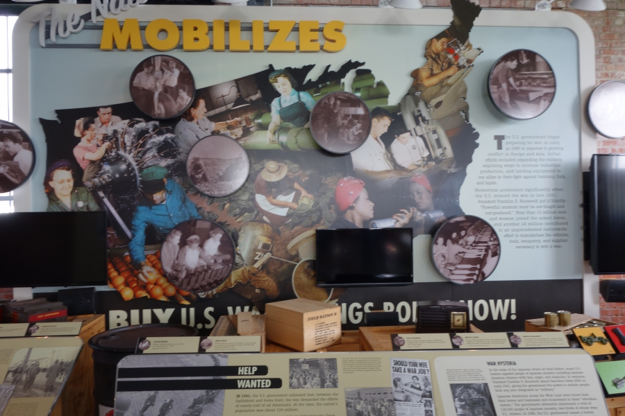 The Nation Mobilizes poster, about Richmond, California's role in World War II, at the Rosie the Riveter Museum